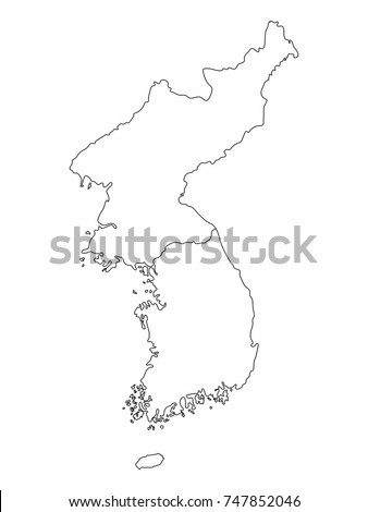 North South Korea Map Outline Graphic Stock Vector Royalty Free