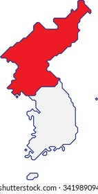 North and South Korea map separate color on white background,