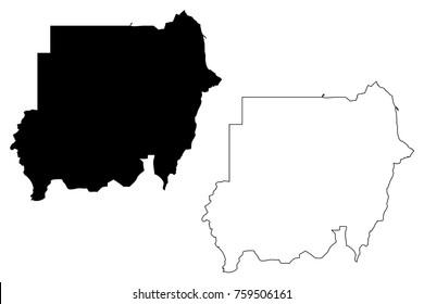 North Sudan map vector illustration, scribble sketch Republic of the Sudan