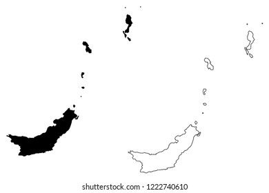 North Sulawesi (Subdivisions of Indonesia, Provinces of Indonesia) map vector illustration, scribble sketch Sulawesi Utara map
