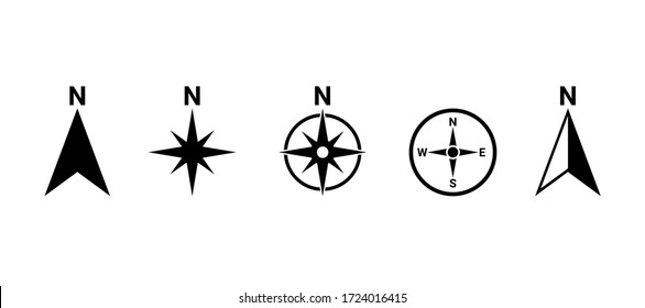 North symbol vector set, direction compass icon