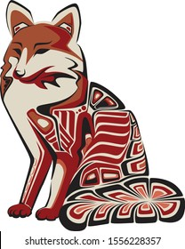 north west native americans style animal fox