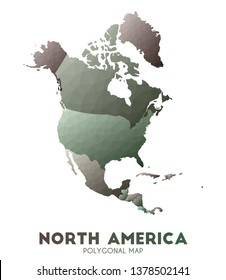 North-america Map. actual low poly style continent map. Noteworthy vector illustration.
