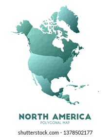 North-america Map. actual low poly style continent map. Rare vector illustration.