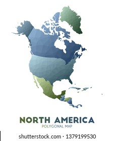North-america Map. actual low poly style continent map. Neat vector illustration.