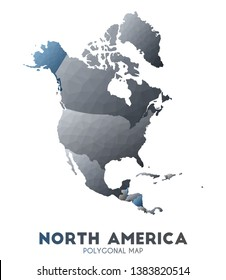 North-america Map. actual low poly style continent map. Posh vector illustration.