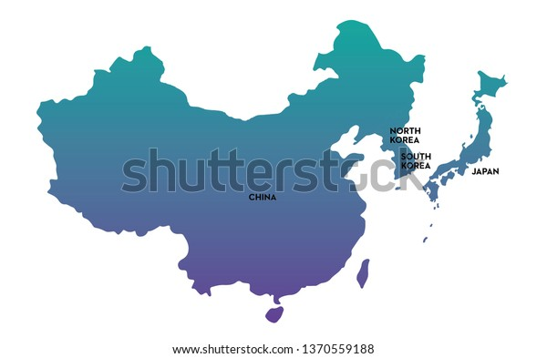 Northeast Asia Map Illustration Stock Vector (Royalty Free