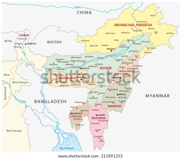 Northeast India Map Stock Vector (Royalty Free) 211891252