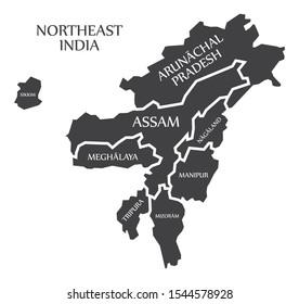 Northeast India region map labelled black illustration
