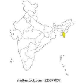 North-eastern state Mizoram on the map of India