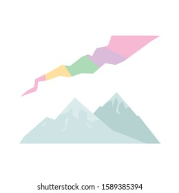 Northen mountains in ice and aurora borealis. Polar icon in flat style. Vector isolated illustration in pastel colors.