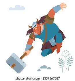 Northern barbarian Viking knight with sledgehammer attacks. Vector flat illustration
