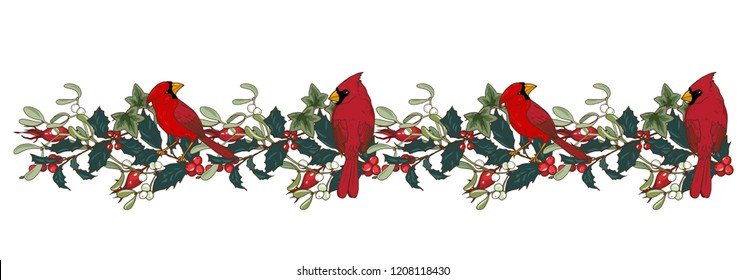 Northern cardinal bird, Holly and mistletoe branches, ornament, vector illustration