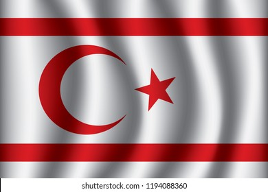 Northern Cyprus flag background with cloth texture. Northern Cyprus Flag vector illustration eps10.