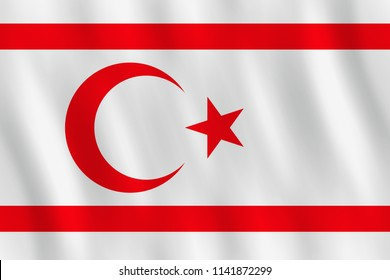 Northern Cyprus flag with waving effect, official proportion.