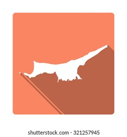Northern Cyprus map: modern flat icon with long shadow. Vector icon map of Northern Cyprus on orange background. Flat style country map