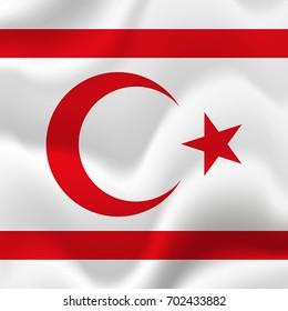Northern Cyprus waving flag. Vector illustration.
