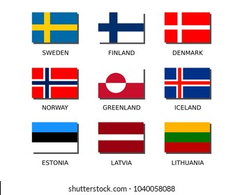 northern europe national flag icon set (square 2:3)