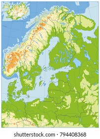 Northern Europe Physical Map. No text. Highly detailed vector illustration.
