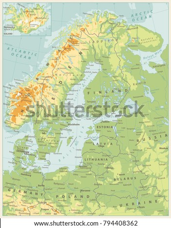 Northern Europe Physical Map Retro Color Stock Vector (Royalty Free ...