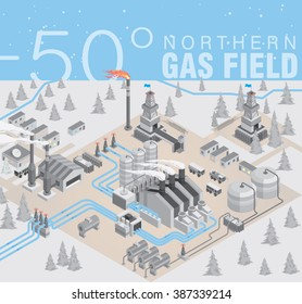 northern gas field. extraction and purification of gas and its transportation through pipelines in the conditions of low temperature / Small village near the gas mining  / vector illustration