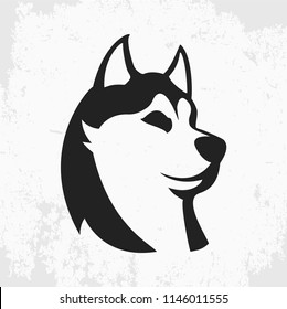 northern husky dog, vector image, flat style, black and white logo on white background, animal head, web icon, design element