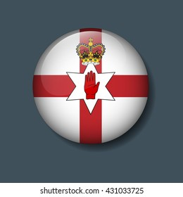 Northern Ireland Flag on Button, Logo Euro 2016 Soccer, Football team concept