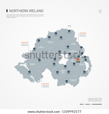 Cities In Ireland Map.Northern Ireland Map Borders Cities Capital Stock Vector Royalty