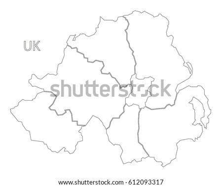 northern ireland outline silhouette map illustration stock vector UK Airports Map northern ireland outline silhouette map illustration with counties
