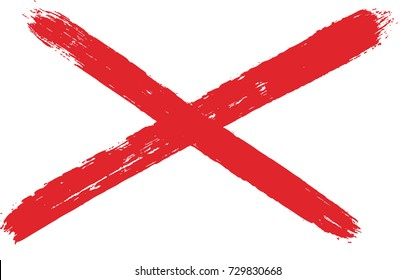 Northern Ireland Saint Patrick´s Saltire Flag Vector Hand Painted with Rounded Brush