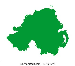 Northern Ireland vector map silhouette isolated on white background illustration. Europe state.