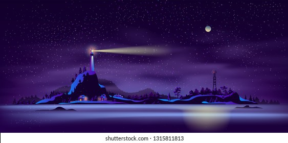 Northern landscape with working at night lighthouse on rocky cliff, cottage houses glowing lights on seashore and fire lookout tower cartoon vector illustration. Remote settlement on northern island