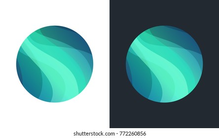 Northern Lights, Aurora Borealis Vector Landscape Illustration