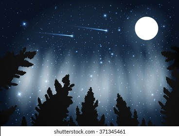 Northern Lights. Galaxy With Framed With Pine Trees. Night Sky And Shooting Stars. Milky Way. Vector Illustration