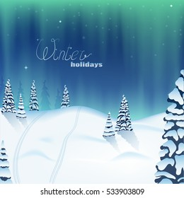 Northern lights in the mountains. the snowy landscape. trees in the forest. the trace of the skis. winter holidays. pattern, illustration, pattern, vector.
