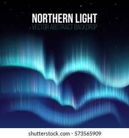 Northern lights, nunavut canada, pole arctic night abstract background. Aurora borealis in atmosphere, colorful sky with colored northern lights. Vector illustration