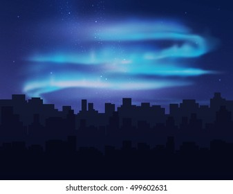 Northern lights over night city buildings. Vector illustration.