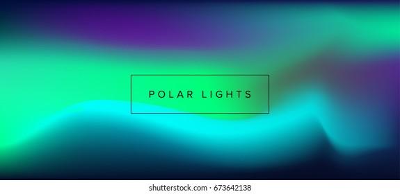 Northern lights, polar lights, luminescence. Vector blurred background.