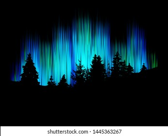 Northern lights vector. Forest silhouette against the background merry dancers. Trees landscape.