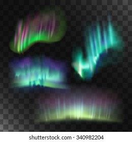 Northern lights vector set. Abstract blue lights.