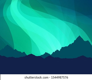 Northern Lights Wallpaper background with Scenic Nature Landscape - Mockup for Travel Banner or Placard of trip to Scandinavia or Canada, Northern Countries with Mountains.