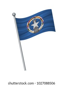 Northern Mariana Island flag on the flagpole. Official colors and proportion correctly. waving of Northern Mariana Island flag on flagpole, vector illustration isolate on white background.