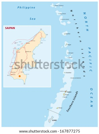 Northern Mariana Islands Map Stock Vector (Royalty Free) 167877275 ...