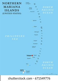 Northern Mariana Islands political map with capital Saipan. Insular area and commonwealth of United States in Pacific Ocean, north of Guam. Mariana Archipelago. Illustration. English labeling. Vector.