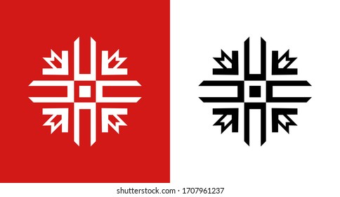 Northern National Folk ornament round shape isolated on red and white background. Vector ethnic Emblem of Canadian and Scandinavian traditional geometric Textile Signs.