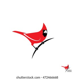 Northern red cardinal bird sign - vector illustration