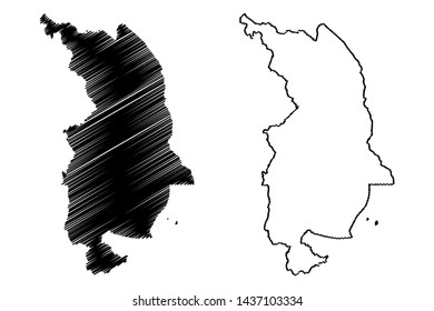 Northern Region Malawi (Republic of Malawi, Regions of Malawi, Administrative divisions) map vector illustration, scribble sketch Northern Region map