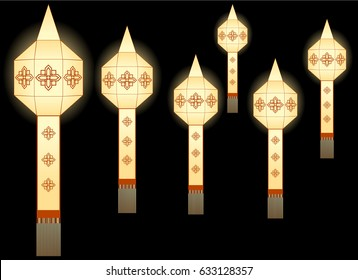 Northern thai style paper lamp lighting graphic vector