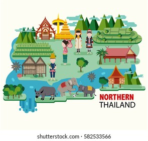 Northern Thailand travel with their culture and identity, all in the flat style, illustration, vector
