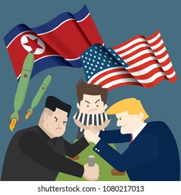 NorthKorea-USA-2018 : The summit of United States of America(Donald Trump) and North Korea(Kim Jung un) for Denuclearization